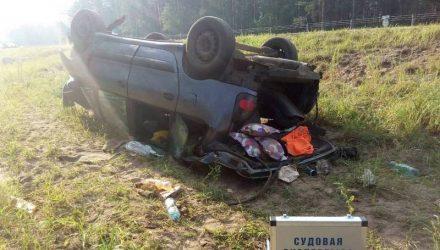 На гомельской трассе перевернулись белорусы, которые ехали с моря в Украине – пострадали дети