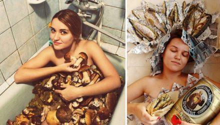 Белоруска, которая фотографировалась в ванне с грибами, переключилась на портреты с алкоголем и рыбой
