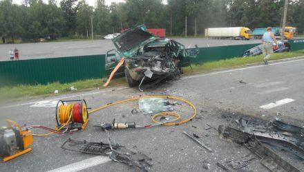 BMW вылетел на встречку. Спасатели показали последствия страшного ДТП в Калинковичском районе на видео