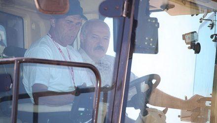 """""""Надо доработать, это действительно комбайн будущего"""". Лукашенко испытал новую гомельскую технику"""