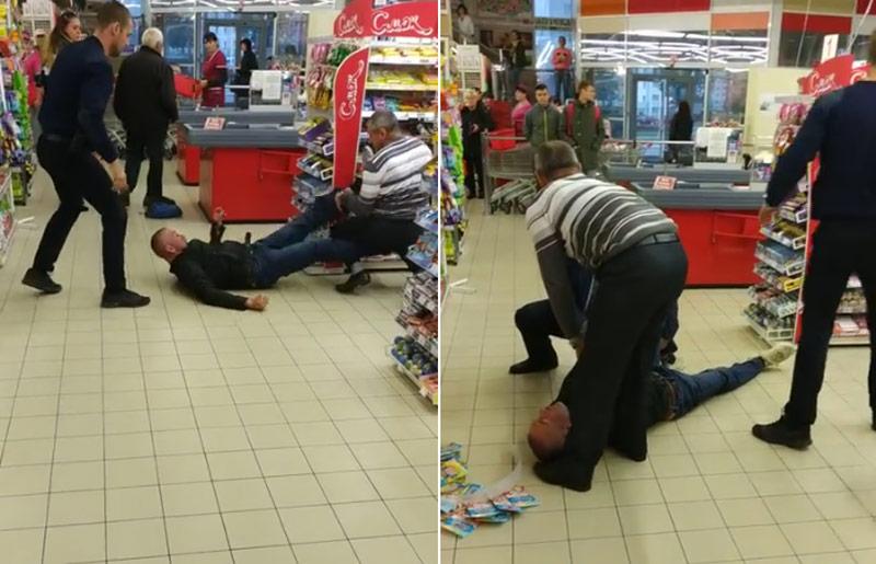 """""""Я тебя разорву, с*ка!"""" В Мозыре пьяный мужик устроил конфликт с охраной магазина – видео"""