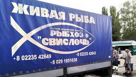В Гомеле заметили грузовик торговцев рыбой с христианским символом на борту