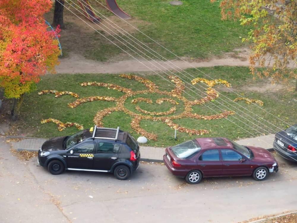 Белорусский парень устроился работать дворником и теперь выкладывает композиции из листьев