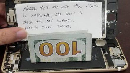 """Муж принёс в сервис телефон с запиской: """"Скажите жене, что починить невозможно"""""""