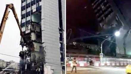 В Москве на проезжую часть рухнуло здание бизнес-центра