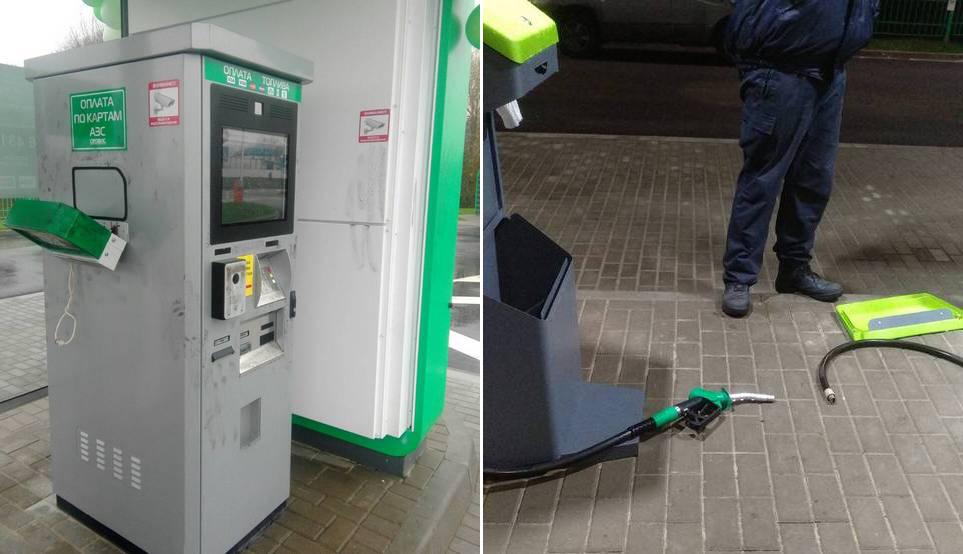 В Гомеле пьяный студент повредил недавно открытую автоматическую АЗС и пытался сбежать