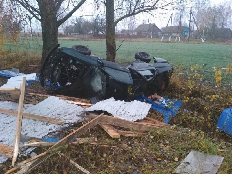Один погиб, трое в реанимации. Ночью в Речицком районе Peugeot разорвало на части после наезда на дерево