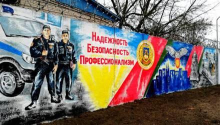 Фотофакт: девушка-милиционер в Светлогорске украсила забор рисунком