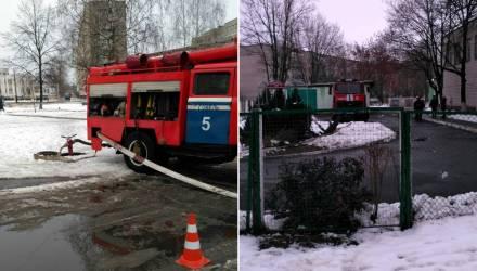 На территории гимназии № 14 в Гомеле много пожарных авто и спасателей. Что случилось?