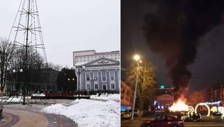 В Гомеле на месте сгоревшей 1 января елки устанавливают новую