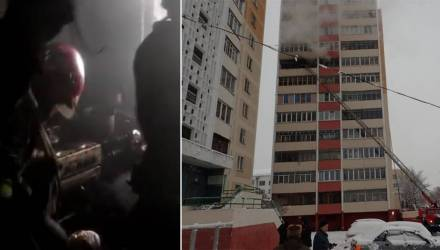 Пожарные на видео показали борьбу с огнём в гомельской многоэтажке: из дома эвакуировано 10 человек
