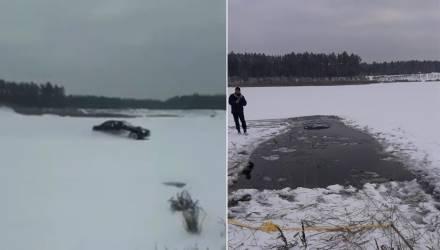 """""""Безумный Саша"""". На Гомельщине любитель зимнего дрифта утопил авто на озере – фото, видео"""