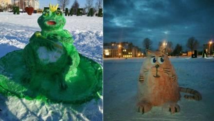 День снега прошёл в Гомеле – горожане соревновались в конкурсе снежных фигур