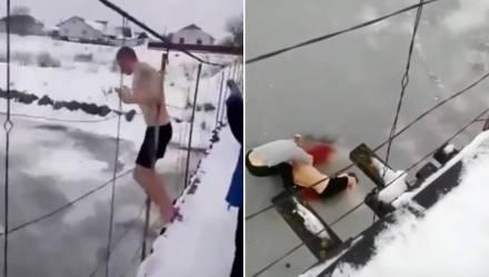 Молодой белорус прыгнул с моста в реку, но не пробил лёд – было много крови