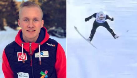 Появилось видео со страшным падением лыжника, не успевшего затормозить на трассе