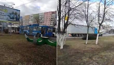 Видеофакт. в Гомеле на Речицком проспекте из-за ДТП образовался троллейбусный коллапс