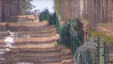 """Опубликовано видео """"прогулки"""" украинки с сумками вдоль границы с Гомельской областью"""