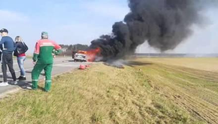 Под Гомелем целиком сгорел Mercedes – видео