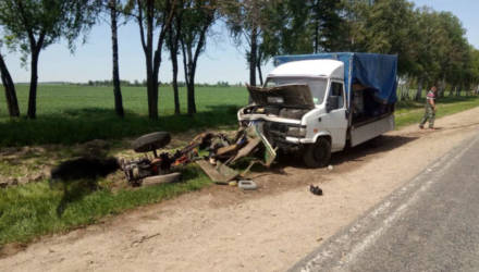 Грузовик врезался в мотоблок под Буда-Кошелёво: погибли 2 человека