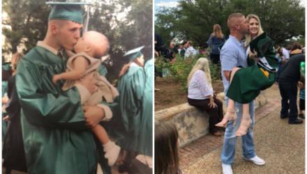 Отец взял годовалую дочь на выпускной и через 18 лет с радостью повторил их фото