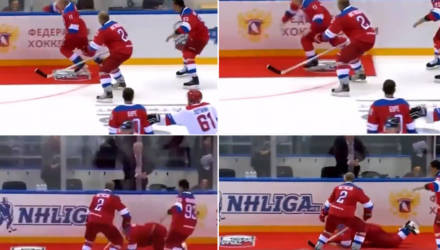 Путин забросил 8 шайб в Сочи, а после игры приветствовал зрителей, зацепился за ковёр на льду и упал (видео)