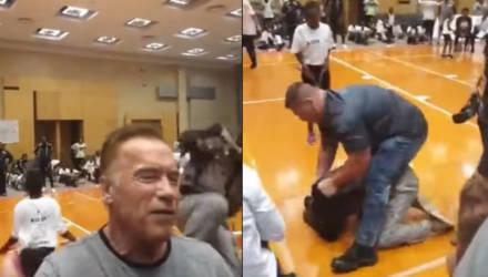 Неизвестный напал на Арнольда Шварценеггера на спортивном фестивале в ЮАР (видео)