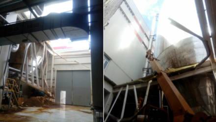 В Светлогорске у ЦКК исчезла часть крыши. Местные предполагают обвал, завод говорит о плановых работах