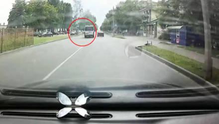 В Гомеле замечена маршрутка-неадекват: водитель не пользуется указателями поворота, совершил обгон на пешеходном переходе и едва не сбил девушку