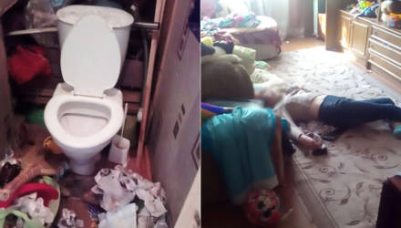 Пьяная многодетная мать уснула в коридоре – детей у неё могут забрать
