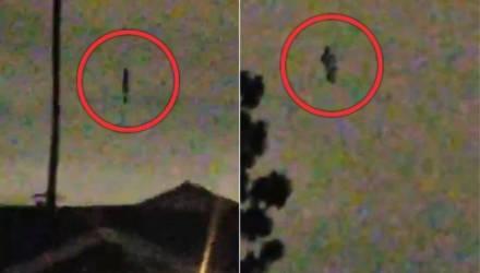 Напуганная семья сняла на видео, как с небес спускается загадочный силуэт