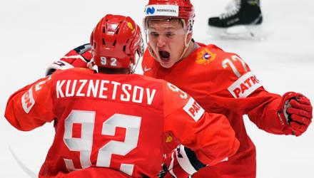 Россия в напряжённом поединке обыграла США и вышла в полуфинал чемпионата мира по хоккею
