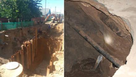 Три месяца без газа, воды — и с нечистотами. В Речице канализация размыла дорогу, её не сделали до сих пор