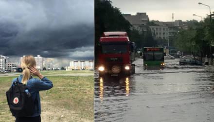 Что ни дождик, то потоп. Завораживающие кадры разгулявшейся стихии в Гомеле