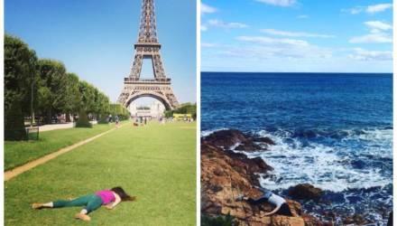 Блогерша позирует мёртвой на фоне туристических мест, устав от типичных фото