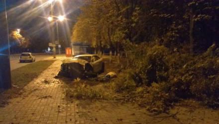 В Гомеле 20-летний парень на Audi разогнался, зацепил бордюр и врезался в дерево. Пострадала 21-летняя девушка-пассажир