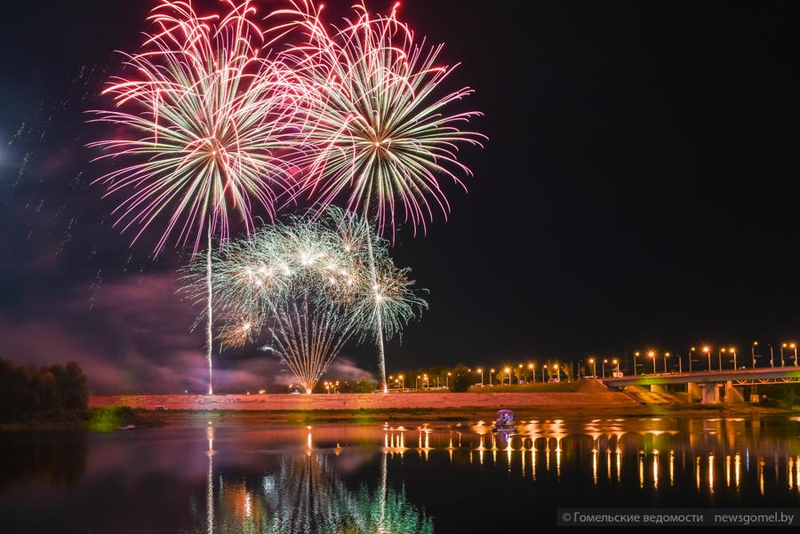 День города в Гомеле завершился красочным фейерверком – фотофакт