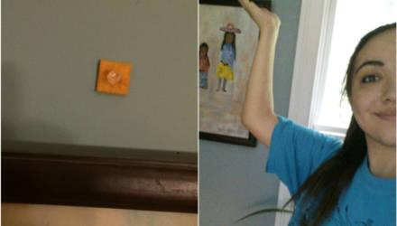 Дочь приклеила на стену крекер, проверяя, заметит ли отец, и вот — 4 года спустя