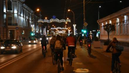 Впервые в Гомеле прошли вечерний велопарад и флешмоб