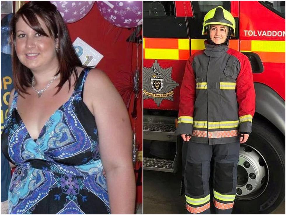 Девушка весом более 100 кг серьёзно похудела, чтобы стать пожарным, как папа