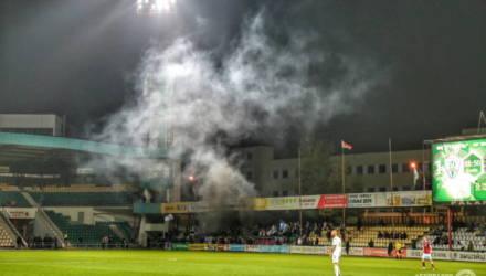 Фанаты Бреста шумно сгоняли в Гомель: дым, задержание и испорченные кресла