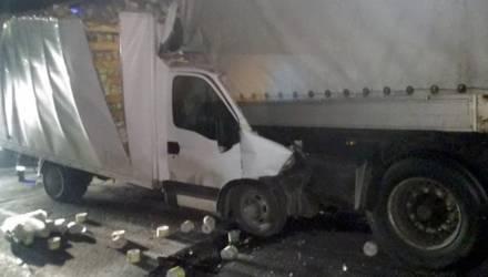 Очевидец: на гомельской трассе грузовик залетел под фуру