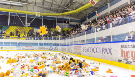 """Матч между хоккейными клубами """"Гомель"""" и """"Юность"""" завершился """"Игрушкопадом"""""""