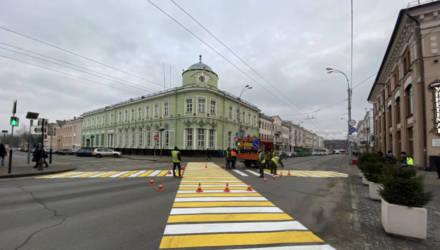 В Гомеле на Советской появился первый в области диагональный пешеходный переход
