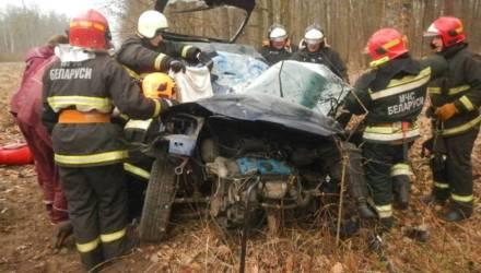Спасатели показали на видео, как доставали девушку из покорёженного авто в Речицком районе