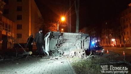 В Гомеле водитель Яндекс.Такси выехал на встречку, а затем снёс дерево. Автомобиль перевернулся