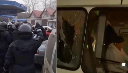 В Украине закидали камнями автобусы с эвакуированными из Китая