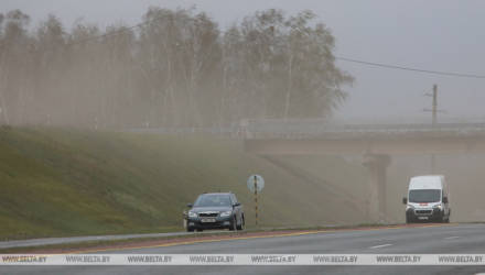 ГАИ Гомельской области призывает водителей быть осторожными из-за песчаной бури