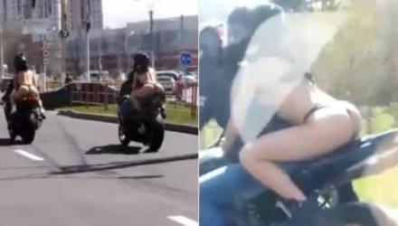 Видеофакт: байкеры прокатили по улицам девушек в нижнем белье