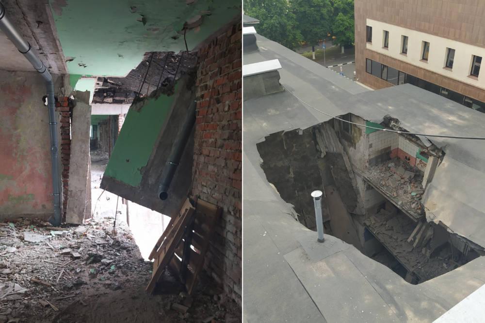 В Гомеле при ремонте обрушились конструкции всех четырёх этажей здания