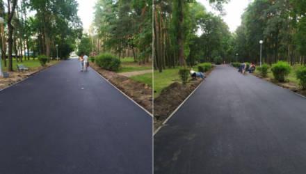 """Приятное удивление: в Гомеле велоактивисты попросили власти отремонтировать тротуары в парке """"Фестивальном"""". И сработало!"""